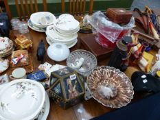 A QUANTITY OF ASSORTED CHINA WARES, ORNAMENTS AND PICTURES.