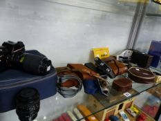 A PRAKTICA SLR CAMERA, VARIOUS FOLDING POCKET CAMERAS, A PAIR OF OPERA GLASSES ETC.