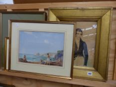 VICTORIAN WATERCOLOUR PORTRAIT OF A DANDY GENTLEMAN, AND TWO WATERCOLOUR COASTAL SCENES, A FARM