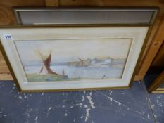 A WATERCOLOUR SIGNED M. FOSTER OF BONFLEET CREEK AND ANOTHER WATERCOLOUR BY ISABEL HYNE-JONES.