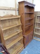 A PINE WATERFALL BOOKCASE, AND ANOTHER BOOKCASE ON CABINET.