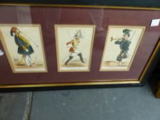 THREE FRAMED SETS OF CARICATURE PRINTS AND FOUR FURTHER PRINTS.(7)
