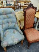 TWO VICTORIAN LADIES CHAIRS, AND A LATER TUB ARMCHAIR.
