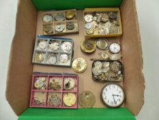 A COLLECTION OF VINTAGE WATCH MOVEMENTS ETC.