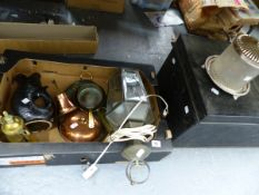A TIN DEED BOX, A HANGING LANTERN, A SILVER PLATE MOUNTED BISCUIT BARREL ETC.