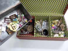 ART DECO STYLE BAKELITE BELT BUCKLES, MARCASITE AND OTHER VINTAGE BROOCHES, MICRO MOSAIC BROOCH,