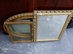 TWO GILT FRAMED MIRRORS AND A FRAME.