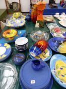 A COLLECTION OF VARIOUS HAND DECORATED DINNER AND DECORATIVE WARES, INC SIGNED EXAMPLES ETC.