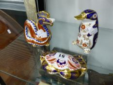 THREE ROYAL CROWN DERBY PAPERWEIGHTS, CRAB, DRAGON, PLATYPUS.