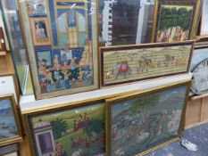 A GROUP OF FIVE EASTERN PAINTINGS DEPICTING RURAL AND TOWN LIFE.
