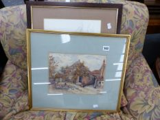 ANTIQUE WATERCOLOUR SIGNED INDISTINCTLY AND A SIGNED ARTIST PROOF, THE RED BARN.