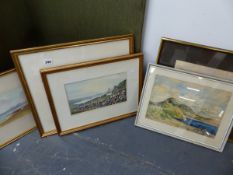 FOUR VARIOUS COASTAL SCENE WATERCOLOURS BY GUY JONES, JEAN GARDNER ALAN DAVIS AND ON OTHER DATED