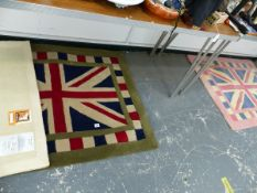 THREE SMALL RUGS, TWO UNION JACK AND ONE PINK AND CREAM SPOT.