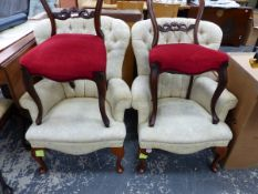 A PAIR OF BUTTON BACK ARMCHAIRS AND TWO BALLOON BACK CHAIRS.