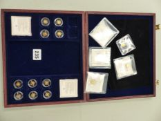 FIFTEEN 14ct GOLD 0.5grm PER COIN, COLLECTORS COINS - CASED.