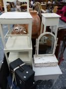 A QUANTITY OF 19th C. AND LATER PAINTED OCCASIONAL FURNITURE AND A SWING MIRROR.
