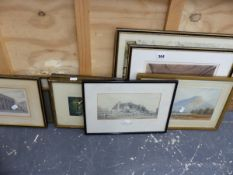 TWO 19th C. WATERCOLOURS AND VARIOUS PRINTS. (9)