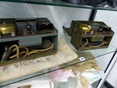 TWO VINTAGE MILITARY FIELD TELEPHONES.
