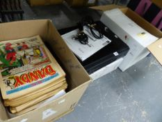 A COLLECTION OF DANDY COMICS, VARIOUS PICTURE FRAMES, A LIGHT FITTING, DVD PLAYER ETC.