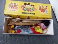 A PELHAM STANDARD PUPPET, DUTCH BOY, VINTAGE BOARD GAMES AND TWO TEDDY BEARS.