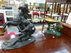 AN ANTIQUE MARLEY HORSE FIGURE, AND A SET OF KITCHEN SCALES.
