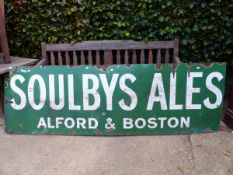 A LARGE SOULBYS ALES ENAMEL SIGN.