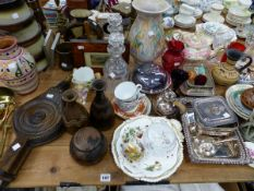 VARIOUS ART POTTERY, VICTORIAN AND LATER GLASS WARES, SILVER PLATED ITEMS ETC.