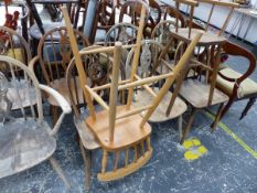 A SET OF ERCOL SIDE CHAIRS ETC.