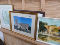 A SMALL OIL PAINTING SIGNED A SENIOR A PRINT BY ELIZABETH BAINSTOW, 2 PHOTOGRAPHS ETC.
