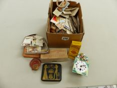 A SMALL COLLECTION OF CHURCHMAN CIGARETTE CARDS,VARIOUS GB COINS, A CIGARETTE CASE, LIGHTERS, A