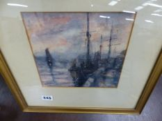 WATERCOLOUR HARBOUR SCENE, SIGNED GORDON CROSBY.
