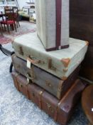 VARIOUS SUITCASES AND TRUNKS.