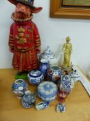 A PIG BEEFEATER FIGURE, A SMALL JAPANASE VASE, WEDGWOOD POWDER JAR AND OTHER CHINA WARES.
