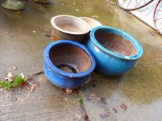 TWO BLUE GLAZED PLANTERS AND OTHERS.