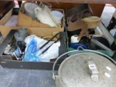 VARIOUS VINTAGE IRON COOKING PANS, PLATED CUTLERY, VASES, ETC.