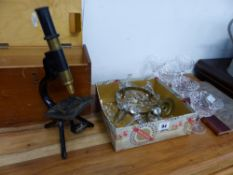 A SMALL VINTAGE MICROSCOPE, A SMALL CUT GLASS LIGHT SHADE ETC.