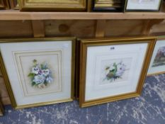 FOUR WATERCOLOUR STILL LIFE STUDIES OF FLOWERS, SIGNED MARY BROWN.