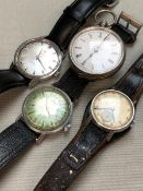 A CONTINENTAL SILVER LADIES POCKET WATCH, AND THREE VINTAGE GENTS WRIST WATCHES TO INCLUDE A