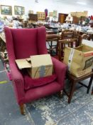 AN EDWARDIAN WING BACK ARM CHAIR AND FOUR VARIOUS SIDE CHAIRS.