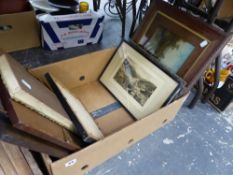 A QUANTITY OF ANTIQUE AND LATER ETCHINGS, OTHER PRINTS AND PICTURES, AND A COAL BOX.