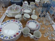 ADAMS WARE PART DINNER SERVICE, WINE GLASSES ETC.