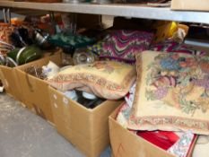 A LARGE COLLECTION OF CUSHIONS, MODERN KITCHEN PANS ETC.