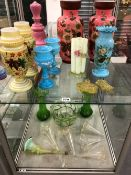 A COLLECTION OF ANTIQUE AND LATER COLOURED AND OPAQUE GLASSWARES, TOGETHER WITH A CUT GLASS ART DECO