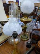 THREE OIL LAMPS.