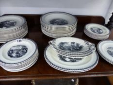 AN ANTIQUE WEDGWOOD BLACK AND WHITE SCENIC PATTERN PART DINNER SERVICE.