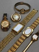A COLLECTION OF FIVE VARIOUS LADIES DRESS WRIST WATCHES, TOGETHER WITH A JOSMAR FOB PENDANT WATCH.