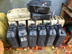 A COLLECTION OF VINTAGE JERRY CANS.