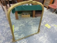 A VICTORIAN STYLE OVER MANTLE MIRROR.