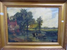 OIL ON CANVAS, AFTER JOHN CONSTABLE HAY WAIN.