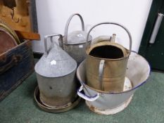 GALVANIZED WATERING CANS, ENAMEL WARES ETC.
